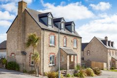 Street view of new houses Royalty Free Stock Photography