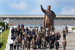 Street view in North Korea. 2010 October 10th,the 65th anniversary of North Korea labor party,there is a bronze statue of Kim Il Sung.It symbolizes the  North