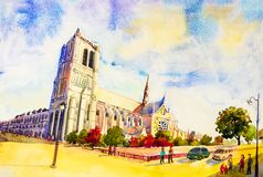 Street view, Notre Dame, famous in Paris France. royalty free stock photos