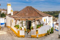 Street view of Obidos - Portugal Royalty Free Stock Image
