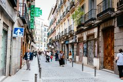 Free Street View Of Lavapies Quarter In Madrid Royalty Free Stock Photos - 118391488