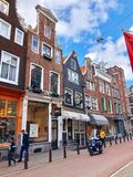 Street view of Old Amsterdam royalty free stock photo
