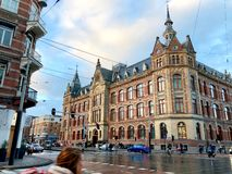 Street view of Old Amsterdam stock images