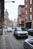 Street view of the old buildings in lower manhattan. royalty free stock photo
