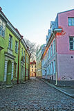 Street view in the Old City of Tallinn in Estonia in the evening Royalty Free Stock Images