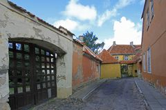 Street view with old colorful houses in the old town of Tallinn, Estonia stock photos
