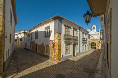 Street view of old downtown Faro -Algarve - Portugal Stock Photography
