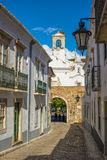 Street view of old downtown Faro - Capital of Algarve - Portugal Royalty Free Stock Images