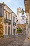 Street view of old downtown Faro - Capital of Algarve - Portugal Royalty Free Stock Image