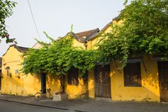Street view with old houses in Hoi An ancient town, UNESCO world heritage. Hoi An is one of the most popular destinations in Vietn. Am Royalty Free Stock Photos