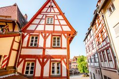 Street view with old houses in Nurnberg, Germany. Street view with beautiful half-timbered houses in the old town in Nurnberg, Germany royalty free stock image