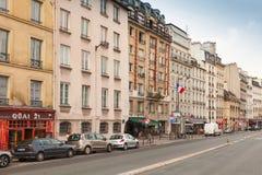 Street view of old Paris. Quai des Grands Augustins Stock Images