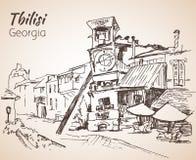 Street view of old Tbilisi, Georgia. Royalty Free Stock Photo