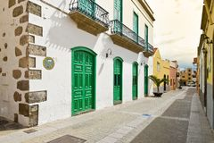 Street View of Old Town of Aguimes in Gran Canaria. Royalty Free Stock Images