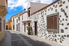 Street View of Old Town of Aguimes in Gran Canaria. Street View of Old Town of Aguimes. Rural Town and Major Tourist Destination in Gran Canaria Royalty Free Stock Images
