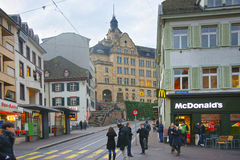Street view in Old Town of Basel Royalty Free Stock Photo
