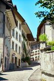 Street view of OLD Town Fribourg, Switzerland Royalty Free Stock Photography
