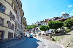Street view of OLD Town Fribourg, Switzerland Royalty Free Stock Image