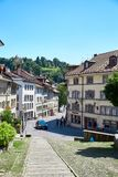 Street view of OLD Town Fribourg, Switzerland Stock Photos