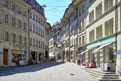 Street view of OLD Town Fribourg, Switzerland Stock Image