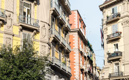 Street view of old town in Naples city Stock Image