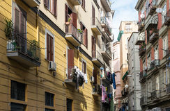 Street view of old town in Naples city Royalty Free Stock Photography