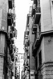 Street view of old town in Naples city Stock Photos