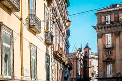 Street view of old town in Naples city Stock Images