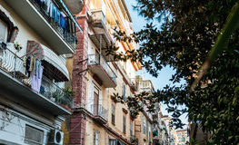 Street view of old town in Naples city Royalty Free Stock Image