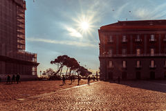 Street view of old town in Naples city Stock Photo