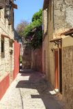 Street view of old town Rhodes, Dodecanese, Greece stock image