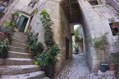 Street view in old town Trogir Stock Photo