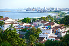 Street view of olinda. Street aerial view of olinda with  recife in the background Pernambuco state brazil Royalty Free Stock Photo