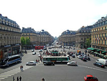 Street view from the Opera Garnier balcony. The Grand Opera in Paris, France Royalty Free Stock Images