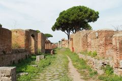 Street view. Of Ostia Antica, Italy Stock Photography