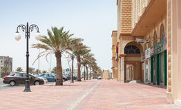 Street view with palms, Saudi Arabia Royalty Free Stock Photography