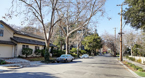 Street view in Palo Alto. View of street in Palo Alto, Silicon Valley, California Royalty Free Stock Images