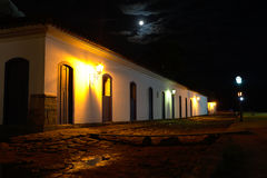 Street view of Paraty at night. Street view of Paraty under moonlight Royalty Free Stock Images