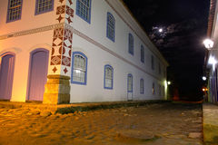 Street view of Paraty at night. Street view of Paraty under moonlight Royalty Free Stock Photos