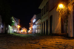 Street view of Paraty at night. Street view of Paraty under moonlight Royalty Free Stock Photography