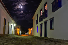 Street view of Paraty at night. Street view of Paraty under moonlight Royalty Free Stock Image