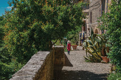 Street view with pebble walkway, flowering plants and little girl in the background at Colle di Val d`Elsa. Street view with pebble walkway, flowering plants Royalty Free Stock Photos