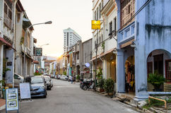 Street view of Penang in Malaysia. People can seen exploring around the street. Royalty Free Stock Photos