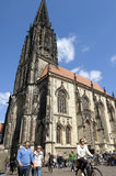 Street view, people, Lambertus church, Münster Royalty Free Stock Image
