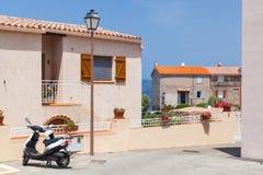 Street view of Piana town, Corsica, France Stock Photos