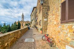 Street view in Pienza, Italy Stock Image