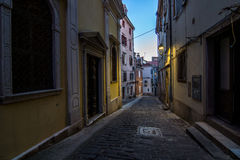 Street view in Piran town Royalty Free Stock Images