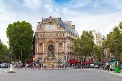 Street view of Place Saint-Michel, Paris Stock Photography