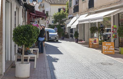 Street view in Port d'Andratx. Low season sales Stock Images