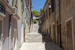 Street view in Pula, Istria. Street view with steps in Pula, Istria, Croatia stock image
